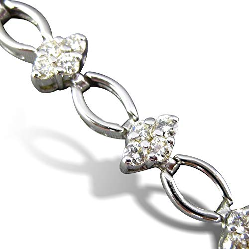Milano Jewelers Wide 2.0CT Diamond 18KT White Gold Flower Cluster Tennis Bracelet #26551