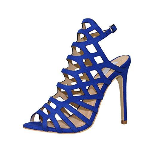 Femmes Slingback Bleu Velours Cage Talon Stiletto Sandale Toe Peep Découpées w7xqxFIS