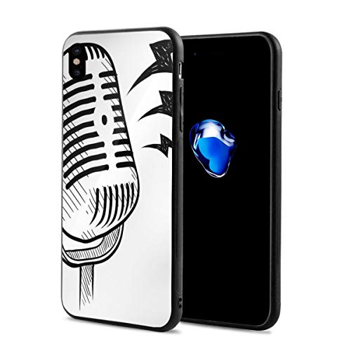 Phone Case Cover Compatible with iPhone X XS,Retro Microphone Communication and Media Concept Radio Show Speech Talk Podcast,Compatible with iPhone X/XS 5.8
