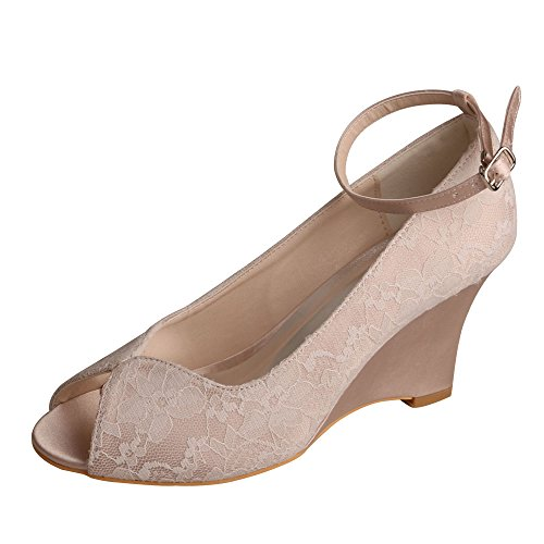 Pumps Wedding Bridal High MW629 Lace Ankle Strap Women's Peep Wedopus Shoes Toe Heel Nude Wedges With TzI8qXwc