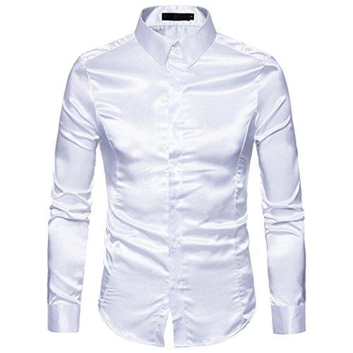 Hunzed Men Fashion Personality Shirt Casual Slim Long Sleeve Shirt Tops Blouse (White, S)