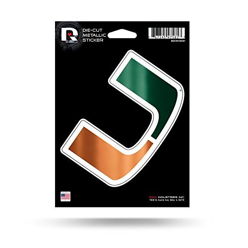 Rico Industries NCAA Miami Hurricanes Die Cut Metallic StickerDie Cut Metallic Sticker, Green, 5.75 x 7.75-inches