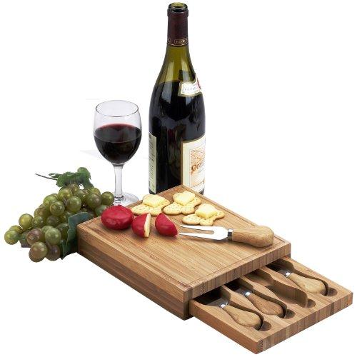 Picnic at Ascot Edam Bamboo Cheese Board Set with 4 Tools by Picnic at Ascot