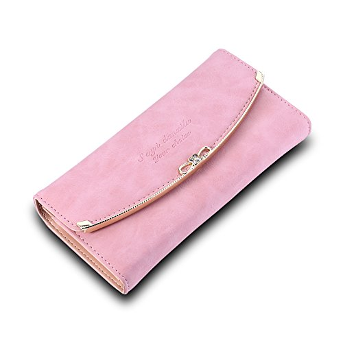 Europe and the United States fashion felt pink PU leather wallet by Generic