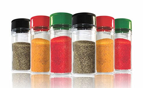 nini-Spice Storage Containers – 6 Small Spice Jar or Empty Spice Bottles Set for Everyday Use – Each with 200 ml (7oz) Capacity – Food-Safe Clear Plastic (Spice Plastic Empty Containers)