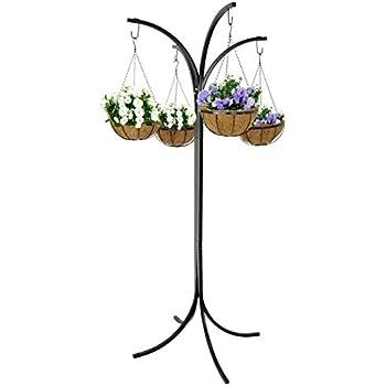 black plant stand hanging holder basket patio outdoor flower decor garden planter. Black Bedroom Furniture Sets. Home Design Ideas