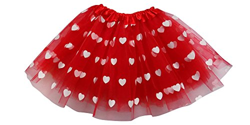 Adult, Plus, or Kids Size Valentine's Day Printed Heart Tutu Costume Love Skirt (XL (Plus Size), Red)]()