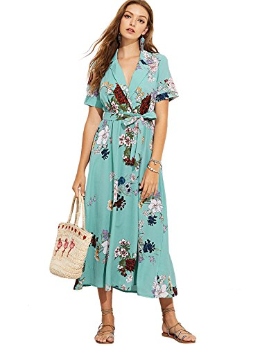Milumia Women's Floral Print Wrap Collar Belted A Line Short Sleeve Maxi Dress Medium A-Turquoise