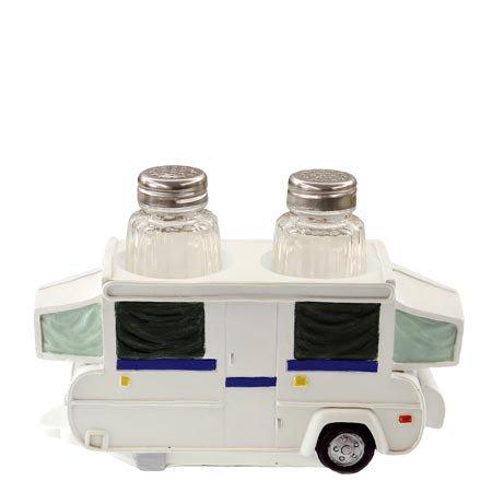 Salt/Pepper & Napkin Holder Set, Pop Up Camper RV, 8-inch, Kitchen Decor (Popup Napkin)