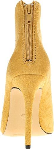Abby 769-1 Donna Stivaletti Zip Stiletto Con Tacco Punta A Punta Pu Autunno Inverno Lavoro Matrimonio Prom Scarpe Beige