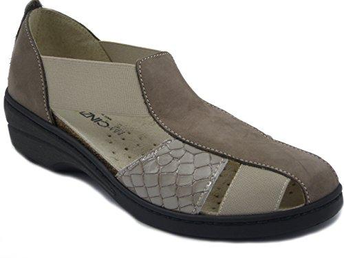 CINZIA SOFT Scarpa/Sandalo in pelle colore taupe, zeppa 4cm., 51008 E17
