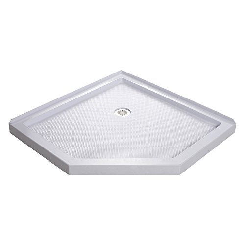 DreamLine SlimLine 42 in. D x 42 in. W x 2 3/4 in. H Corner Drain Neo-Angle Shower Base in White
