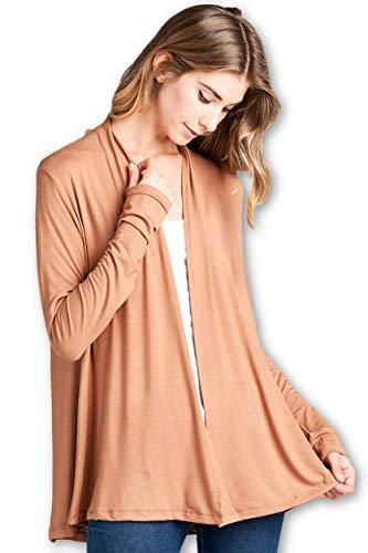 ReneeC. Women's Extra Soft Natural Bamboo Open Front Cardigan – Made in USA (Medium, Caremel)
