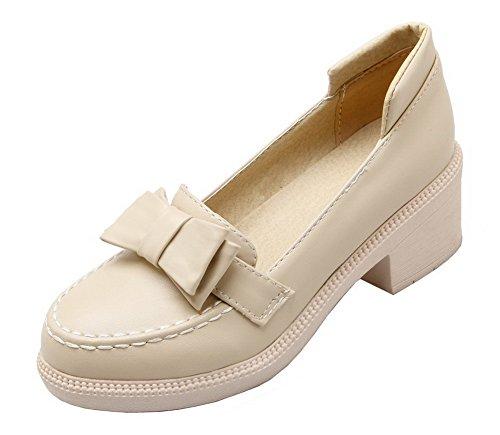 Solid Pull Pumps Shoes Beige Kitten On PU Women's WeiPoot Heels wq7BxIOIU