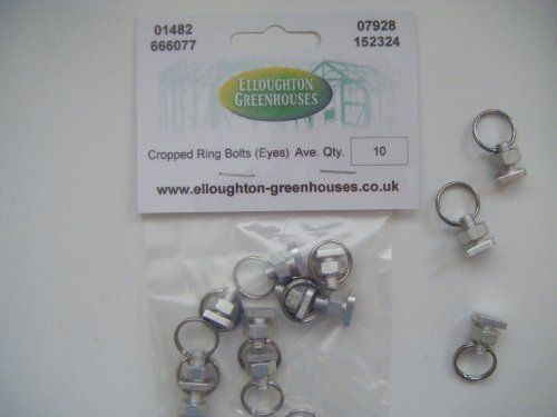 10 Greenhouse Nut and Cropped Bolt Ring Sets - Split Ring Eyes for attaching wires, twine grow lamps etc., fits into greenhouse glazing bars by Elloughton Greenhouses