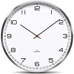 Huygens One25 White Arabic Wall Clock | Stainless Steel