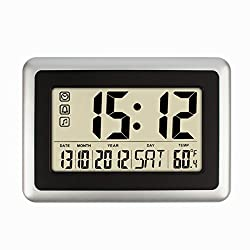 Hippih 10 Digital Desktop Alarm Clock with Temperature,Date and Day