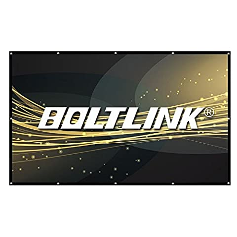 Projector Screen -150 inch(16:9) - BOLTLINK Portable Outdoor Movie Screen. Easy install on mount/wall and collapsible for Home Theater & (Projector With Projector Screen)