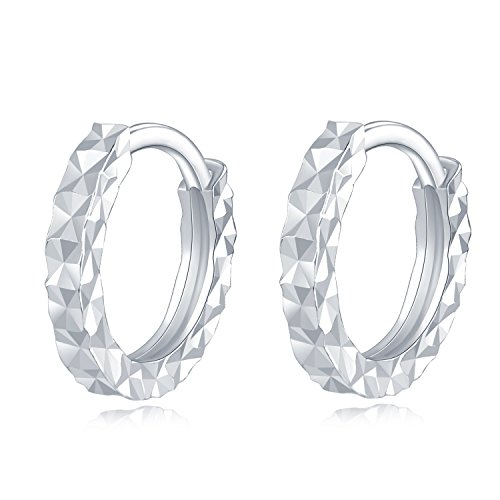 "MaBelle 14K White Gold Diamond-Cut Endless Circle Hoop Earrings (Diameter 0.4"") from MaBelle"