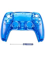 GOTRUTH Replacement Shell for PS5, DIY Replacement Controller Housing Shell Case Set Front and Back Cover for Playstation 5 Dualsense Controllers (Clear Blue)