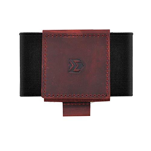 Ebax Mens Minimalist Slim Wallet With Elastic Front Pocket Card Holder Wallet (Dark Red, Genuine Leather Version)