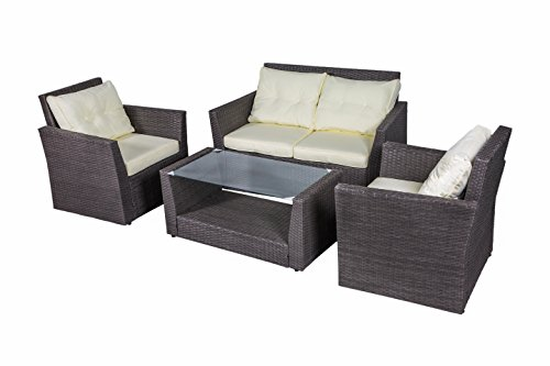 Outdoor Rattan Wicker Cushioned Conversation Sofa Garden Patio Furniture Set with Glass Top Table and Pillows 4PCS(Dark Brown) Review