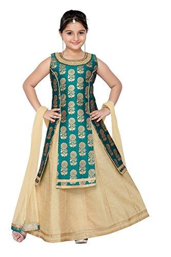 Adiva Girl's Indian Party Wear Lehenga Choli for Kids (G-1014-GREEN-32)