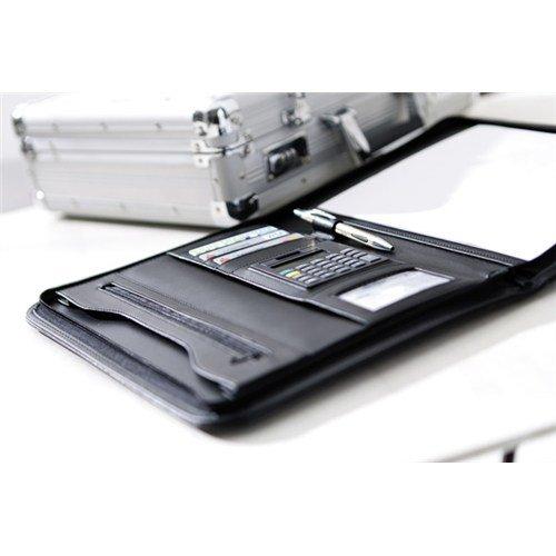 Portfolio Din A4 mit Taschenrechner und Block vielen F/ächern die Konferenzmappe ist in der Farbe schwarz