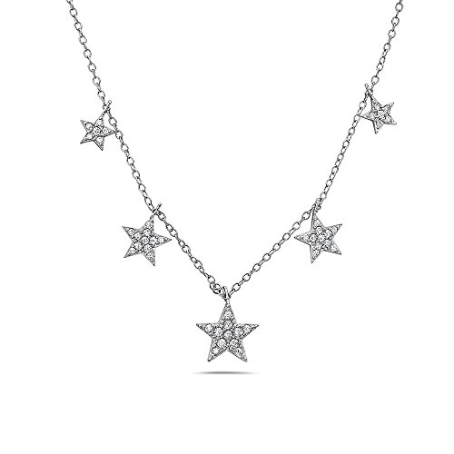 ng Pave Star Necklace   925 Sterling Silver and German Crystal Star Fashion Necklace   Adjustable 18-18 inches (White Tone - GEO) ()
