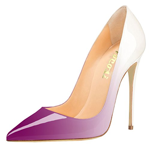VOCOSI Pointy Toe Pumps for Women,Patent Gradient Animal Print High Heels Usual Dress Shoes P-Purple-White 9 US