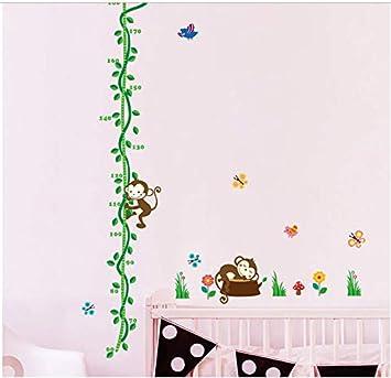 GKAWHH Mono del Sueño De Dibujos Animados Medida De La Altura Etiqueta De La Pared para El Niño Nursery Decor Flor Altura Mesa PVC DIY Mural Art Sticker 155 * 60 Cm