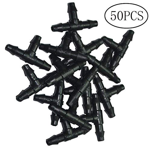 OUNONA 50 pack Garden Agricultural Irrigation Hose Nozzle Tee Connectors Fittings 1/4-Inch Barbed Drip Irrigation Garden Tool 4/7mm Hose ()