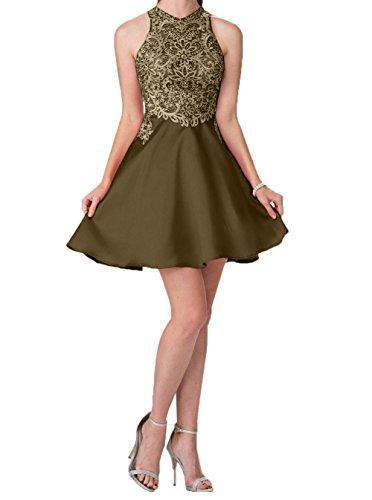 Charmant Promkleider Abendkleider A Cocktailkleider Spitze Kurz Steine Linie Mini Braun mit Damen Abschlussballkleider rwSAx0r