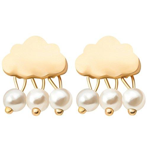 F&U Raining Cloud Shape Weather Pearls Sterling Silver Stud Earrings (Gold)