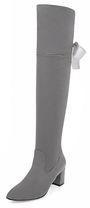 Easemax Damen Elegant Langschaft Overknee Schnürung Nubk Stiefeletten Schwarz 40 EU HGW40DQ