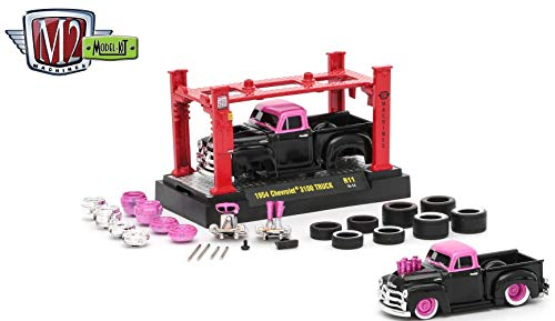 M2 Machines 1954 Chevrolet 3100 Truck (Gloss Black Body & Medium Pink Pearl Top) 2017 Model Kit (Release 11) - 1:64 Scale Die-Cast Vehicle & Auto-Lift Building Set (R11 16-14)