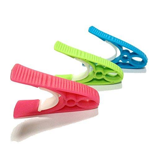 TenCloud Plastic Clothes Pins No Metal No Rust Clothes-peg Clothespins Hangers Set of 18 Blue+Lime+Pink by TenCloud