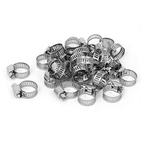 0.5' Band Hose Clamps - Stainless Steel Adjustable Cable Tight Worm Gear Hose Clamps 13-19mm 30pcs