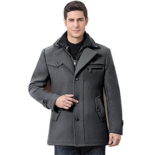 (INVACHI Mens Wool Winter Coat Single Breasted Quilted Lined Pea Coat with Front-Zip)
