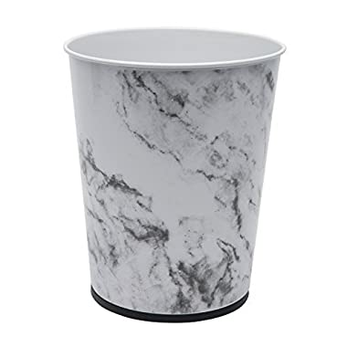 Bath Bliss Trash Can-5-Liter Wastebasket Perfect for Bathroom, Bedroom, Office, Small Space Living 11 Inches Stainless Steel, Marble