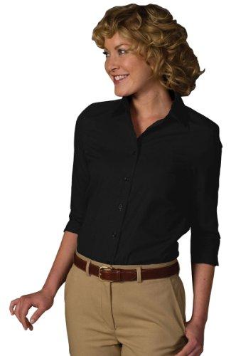 (Ed Garments Women's Soft Collar 3/4 Sleeve Poplin Shirt, BLACK, Large)
