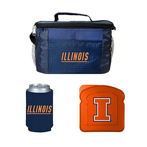 (NCAA Illinois Lunch Cooler Set | Illinois Illini Cooler, Sandwich Container & Pocket)