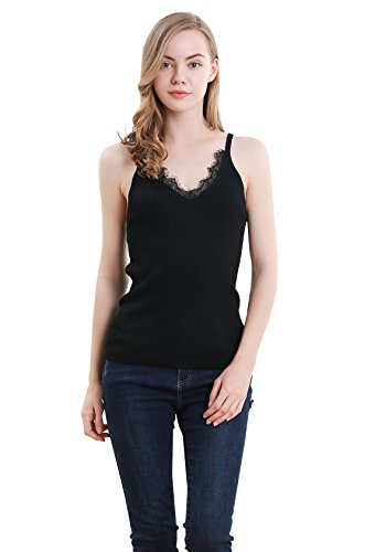 Women Solid Knitted Lace V-Neck Strappy Camis Vest Casual Stretch Ladies Top