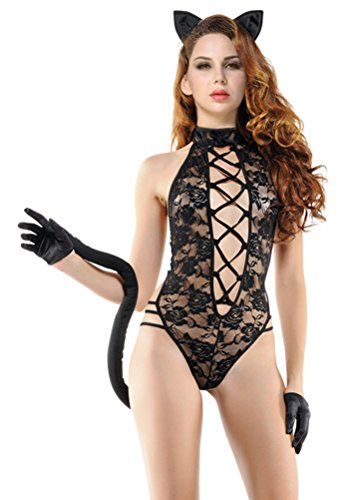 Black Flag Costume For Sale (QinMi Lover Women's Sexy Cat Lace Lingerie Teddy Costume 4 Pieces Set)