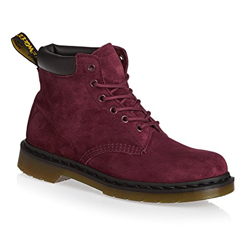 Dr.Martens 939 6 Eyelet Soft Buck Black Womens Boots Red