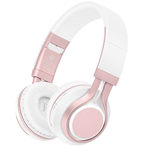 Wireless Headphones, HiFi Stereo Bass Bluetooth Headphones with Mic, Lightweight Foldable Headset, Soft Protein Earmuffs, Support TF Card And FM Radio Wired Mode for PC Cellphone TV Picun (Rose Gold)