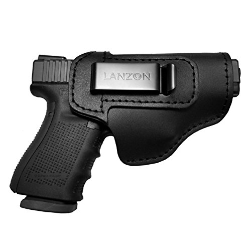 - LANZON Leather IWB Handgun Holster, Concealed Carry Holster, Fits Glock 17 19 22 23 32 33 36 43, S&W M&P Shield, Springfield XD-S, Kel-Tec PF-9, Beretta 92FS, Sig Sauer P228&All Similar Firearms-Right
