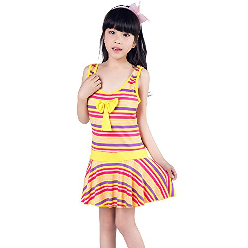 Price comparison product image Boliprince Girls colorful Swimwear Stripes One-Pice Dress Swimsuit Children Beachwear (XXL, Yellow)