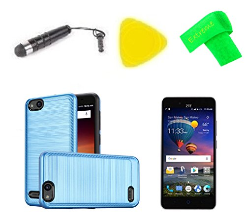 Lining Brush Hybrid Protector Cover Phone Case + Screen Protector + Extreme Band + Stylus Pen + Pry Tool For ZTE ZFive G C Z557BL Z558VL (Lining Brush ()