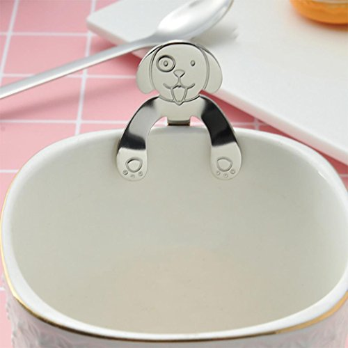 Cute Dog Spoon Long Handle Spoons Flatware Coffee Drinking Tools Kitchen Gadget -KingWo (A)